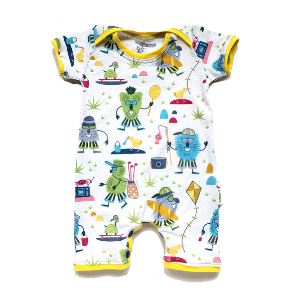 Monsters On Vacation Baby Toddler Summer Shorts Romper - 9-12 months RTS