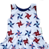 Red White and Blue Pinwheel Isla Circle skirt Infinity Dress - 9-12 months RTS