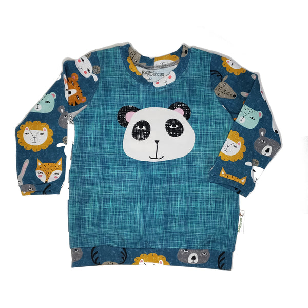 Animal Faces shirt, organic, 12-18 months RTS