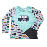 Vehicle kids shirt, cars trucks ambulance fire police, 4T RTS