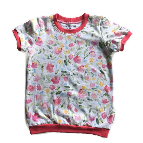 Tulip Pink floral Tee shirt, 4-5 years RTS