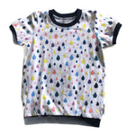 Rainbow Raindrop Tee shirt, 4-5 years RTS