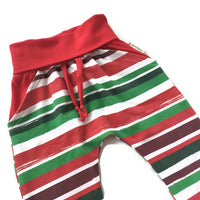 Christmas Stripe Grow with Me Harem Pants - Size 12m-3years RTS