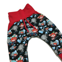 Valentines Love Notes Grow with me Harem Pants Size 3-12 months RTS