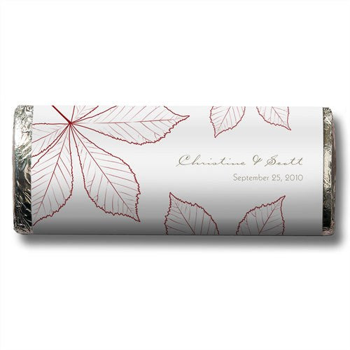 Fall Leaf Personalized Chocolate Candy Bar Wedding Favor  -Personaliztion & Shipping Included - SIMPLY CHIC WEDDING STORE
