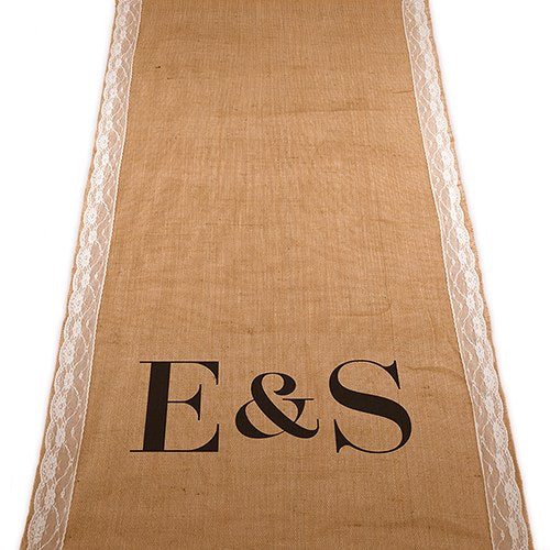 Simply Chic Wedding Burlap And Lace Personalized Ceremony Aisle Runner - Personalization & Shipping Included - SIMPLY CHIC WEDDING STORE