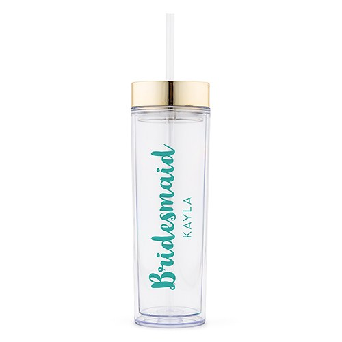 Simply Chic Wedding - Personalized Bridesmaid Beverage Tumbler - Shipping Included
