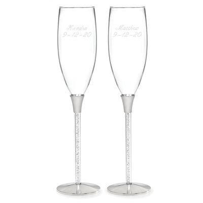 Crystal Clear Wedding Reception Toasting Flutes - Shipping Included - SIMPLY CHIC WEDDING STORE