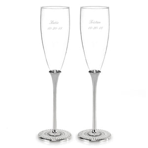 Vintage Pearl Personalized Champagne Toasting Flutes -Personalization & Shipping Included - SIMPLY CHIC WEDDING STORE