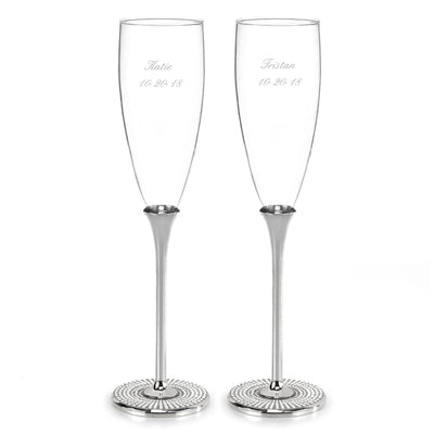 Simply Chic Wedding Vintage Pearl Personalized Champagne Toasting Flutes -Personalization & Shipping Included
