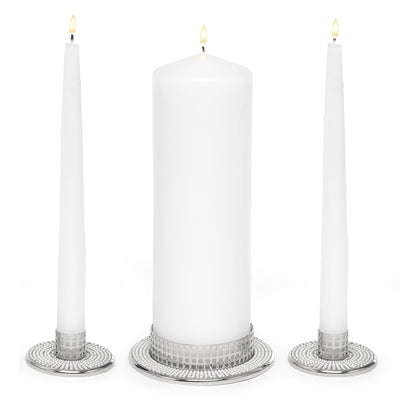 Simply Chic Wedding Vintage Pearl 6 Piece Unity Candle & Holder Set -Shipping Included