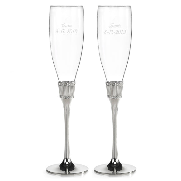 Simply Chic Wedding Royal Reception Toasting Flutes - Personalization & Shipping Included - SIMPLY CHIC WEDDING STORE