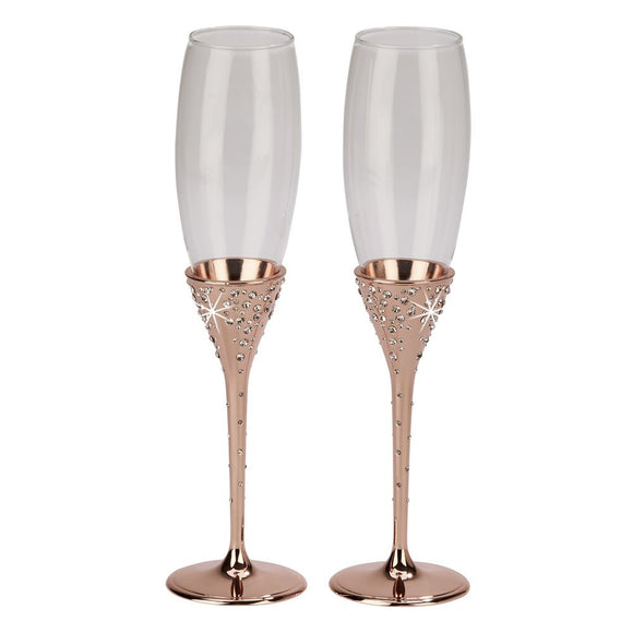 Rose Gold Sparkle Wedding Reception Toasting Flutes - Shipping Included - SIMPLY CHIC WEDDING STORE