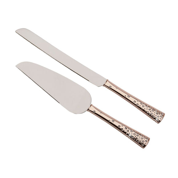 Rose Gold Sparkle Wedding Reception Cake Cutting Set - Shipping Included - SIMPLY CHIC WEDDING STORE