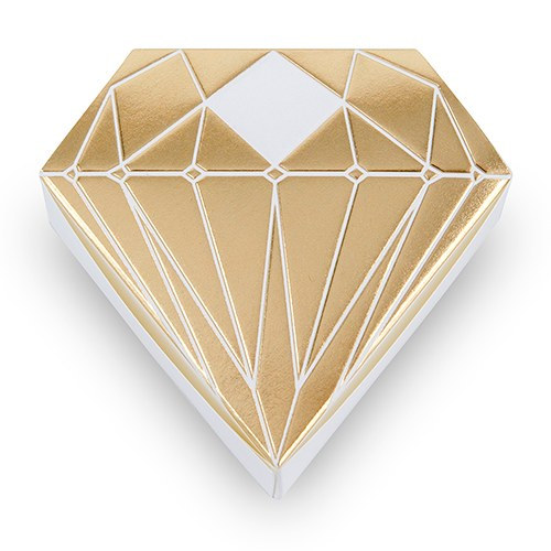 Simply Chic Wedding Metallic Gold Diamond Favor Box -Shipping Included - SIMPLY CHIC WEDDING STORE