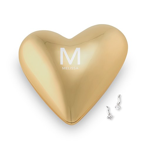 Simply Chic Wedding Personalized Initial Bride Gold Heart Jewelry Holder -Shipping Included - SIMPLY CHIC WEDDING STORE