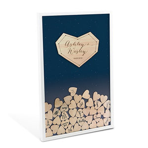 Starry Night Wedding Guest Book Alternative With Hearts -Personalization & Shipping Included - SIMPLY CHIC WEDDING STORE