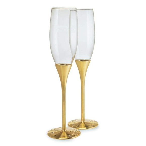 Simply Chic Wedding Gold Champagne Toasting Flutes - Personalization & Shipping Included - SIMPLY CHIC WEDDING STORE
