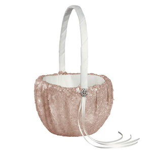 Sequin And Blush Glam Wedding Flower Girl Basket -Shipping Included - SIMPLY CHIC WEDDING STORE