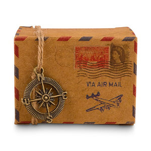Simply Chic Wedding Vintage Style Air Mail Favor Box Set of 10 -Shipping Included - SIMPLY CHIC WEDDING STORE