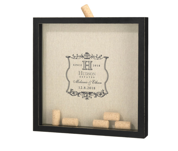 Simply Chic Wedding Wine Cork Shadow Box Guest Book Alternative -Personalization & Shipping Included - SIMPLY CHIC WEDDING STORE