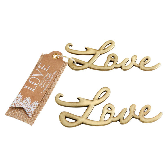Simply Chic Wedding Vintage Gold Love Bottle Opener Wedding Favor -Shipping Included - SIMPLY CHIC WEDDING STORE