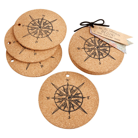 Simply Chic Wedding Cork Compass Wedding Favor- Set of 4 - Shipping Included - SIMPLY CHIC WEDDING STORE