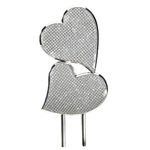Simply Chic Wedding Bling Double Heart Cake Topper -Shipping Included - SIMPLY CHIC WEDDING STORE