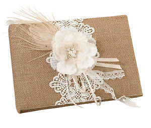 Simply Chic Wedding Burlap Chic Wedding Guest Book & Pen Set -Shipping Included - SIMPLY CHIC WEDDING STORE