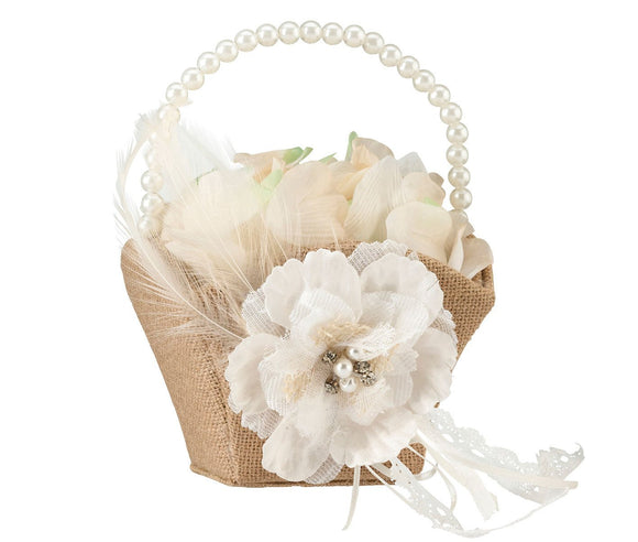 Simply Chic Wedding Burlap Chic Flower Girl Basket -Shipping Included - SIMPLY CHIC WEDDING STORE