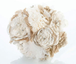 Simply Chic Wedding Burlap Chic Toss Bouquet-Shipping Included - SIMPLY CHIC WEDDING STORE