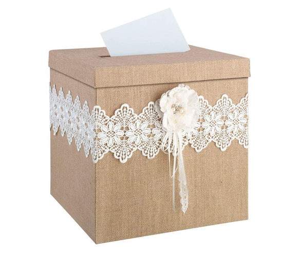 Simply Chic Wedding Burlap Chic Reception Gift Card Holder -Shipping Included - SIMPLY CHIC WEDDING STORE