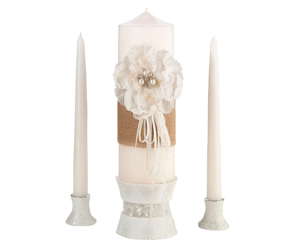 Simply Chic Wedding Burlap Chic Unity Candle Set -Shipping Included - SIMPLY CHIC WEDDING STORE