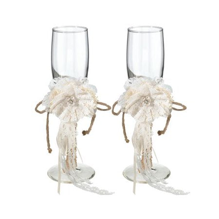 Simply Chic Wedding Burlap Chic Champagne Toasting Flutes -Shipping Included - SIMPLY CHIC WEDDING STORE