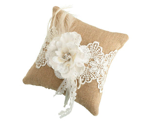 Simply Chic Wedding Burlap Chic Ring Bearer Pillow -Shipping Included - SIMPLY CHIC WEDDING STORE