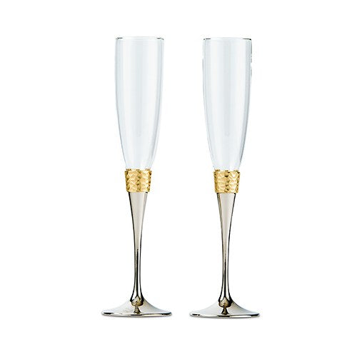 Hammered Gold And Silver Epic Wedding Toasting Flute Set- Personalization & Shipping Included - SIMPLY CHIC WEDDING STORE