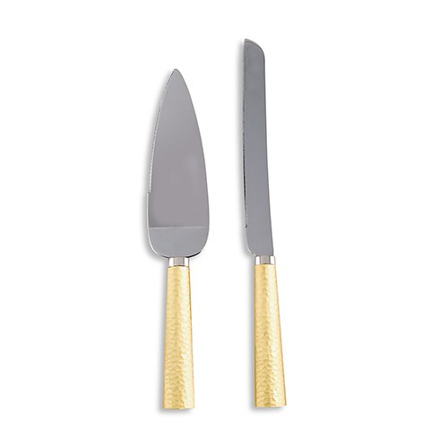 Hammered Gold And Silver Epic Wedding Cake Cutting Set- Personalization & Shipping Included - SIMPLY CHIC WEDDING STORE