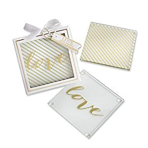 Simply Chic Wedding Love Glass Coaster Wedding Favor -Shipping Included - SIMPLY CHIC WEDDING STORE