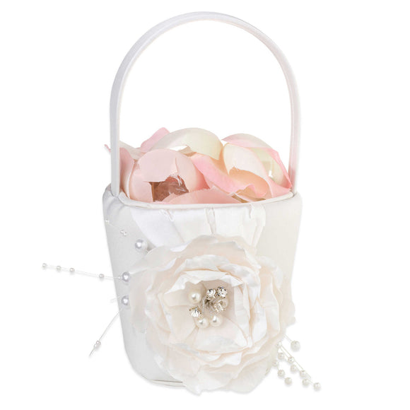 Simply Chic Wedding Vintage Pearl Flower Basket -Shipping Included - SIMPLY CHIC WEDDING STORE