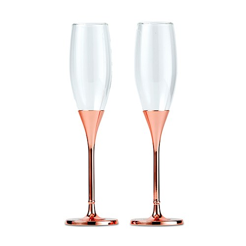 Simply Chic Wedding Rose Gold Bling Toasting Flutes- Personalization & Shipping Included - SIMPLY CHIC WEDDING STORE