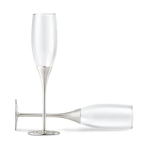 Personalized Silver Leaf Wedding Toasting Flutes- Personalization & Shipping Included - SIMPLY CHIC WEDDING STORE