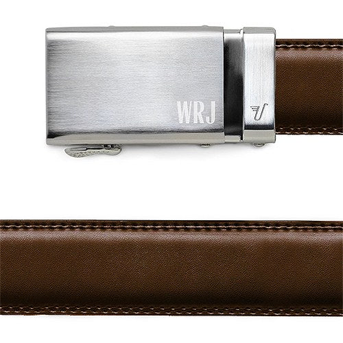 Groomsmen Classic Monogram Leather Belt With Silver Buckle - Shipping Included - SIMPLY CHIC WEDDING STORE