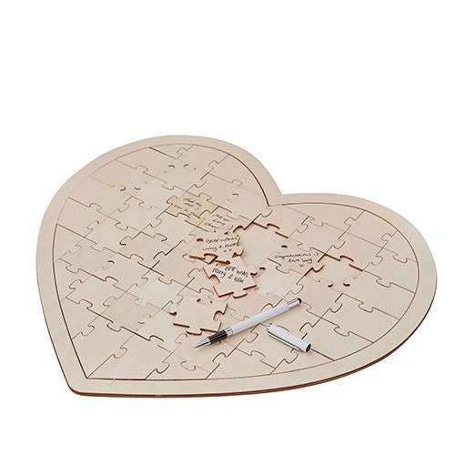 Simply Chic Wedding Wooden Heart Jigsaw Puzzle Wedding Guest Book Alternative -Shipping Included