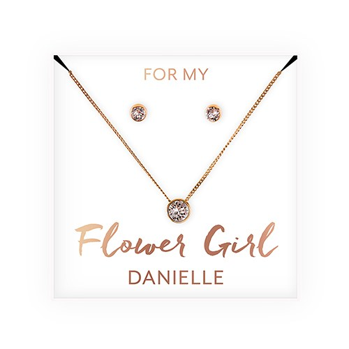 Flower Girl Wedding Day Swarovski Crystal Earring & Solitaire Necklace Set