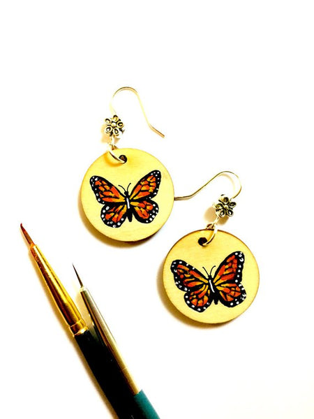 Butterfly Earrings - Hand Painted Frida Kahlo Inspired Jewelry