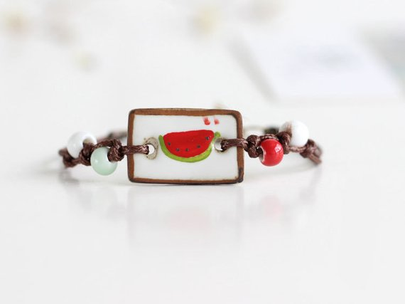 Hand Painted Watermelon Ceramic Bracelet