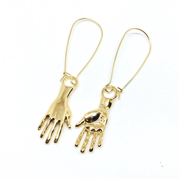 Gold Hand Earrings - Frida Kahlo Inspired Jewelry
