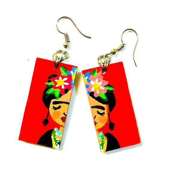 Frida Kahlo Earrings - Red Frida Kahlo Wooden Earrings