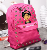 Hand Painted Pink Frida Kahlo bag Personalized Gift