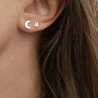 Moon/Star Silver Stud Earrings